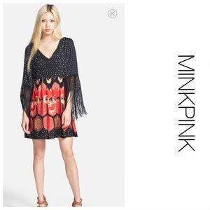 MINKPINK Fringe Sleeve Dress M